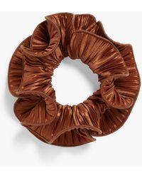 Monki Pleated Satin Scrunchie - Brown