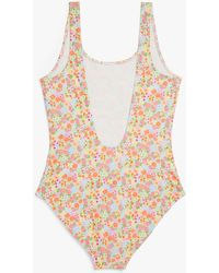 Monki Deep Back Swimsuit - Multicolour