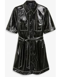 Monki Vinyl Shirt Dress - Black