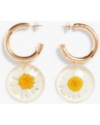 Monki Daisy Drop Earrings - Metallic