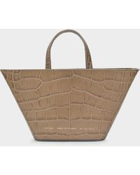 Chylak Trapeze Bag In Glossy Beige Croc Embossed Leather - Natural