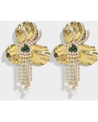 Shourouk - Orchid Gold Earrings In Gold Brass, Swarovski Crystals And Pearls - Lyst