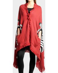 Hayley Menzies - Flying Zebra Blanket Scarf In Red Cotton - Lyst