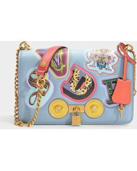 3b532152dd3 Versace - Flapbag With Patches Lettering In Dusk Blue Calf Leather - Lyst