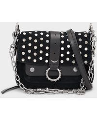 Zadig & Voltaire Kate Shoulder Bag In Black Suede And Calf Leather