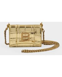 Balenciaga Hourglass Mini Wallet On Chain In Gold Metallized Embossed Croc Calfskin - Metallic