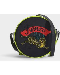 94e625140f8 KENZO - Jumping Tiger Small Round Crossbody Bag In Black Polyamide - Lyst