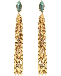 Sylvia Toledano - Leaves Earrings In Gold-plated Brass With Malachite - Lyst