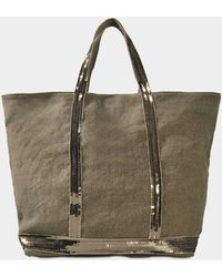 Vanessa Bruno Sequins Medium + Tote In Khaki Linen - Multicolor