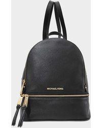 MICHAEL Michael Kors - Rhea Zip Medium Backpack In Black Calfskin - Lyst