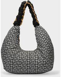 Balmain Pillow Hobo Bag In Monogram Nylon - Black