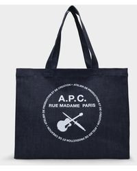 A.P.C. Shopping Bag Guitare Poignard en Toile Denim - Bleu