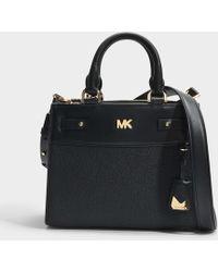 MICHAEL Michael Kors Mott Uptown Mini Messenger Bag In Black Small Pebble Leather