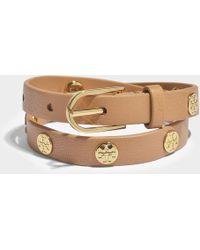 Tory Burch - Double-wrap Logo Stud Bracelet In Metallic Calfskin - Lyst
