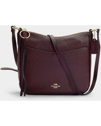 COACH Polished Pebble Leather Chaise Crossbody Bag In Burgundy Calfskin - Red