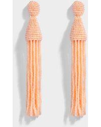 Long Beaded Tassel Clip Earrings in Blush Synthetic Material Oscar De La Renta xfDTUQXTB
