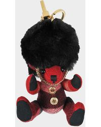 Burberry - Thomas Busby Bag Charm In Red Parade Cashmere - Lyst