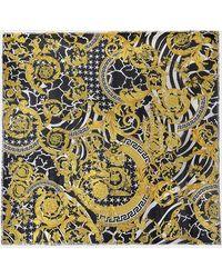 Versace Savage Barocco 90x90 Printed Scarf In Multicolored Silk - Multicolour
