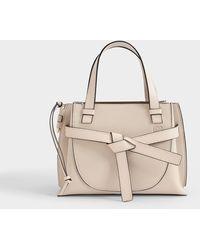 Loewe Gate Top Handle Mini Bag In Light Oat Leather - White