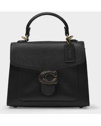 COACH Tasche Tabby Top Handle aus schwarzem Leder