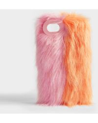 Charlotte Simone Fluff Phone Case In Pastel Pink And Apricot Acrylic