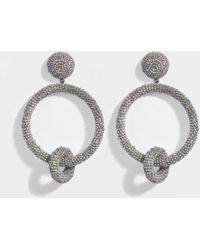 Oscar de la Renta - Beaded Double Hoop Clip Earrings In Silver Synthetic - Lyst