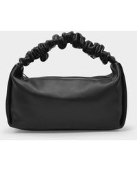 Alexander Wang Baguette Bag Scrunchie Small In Black Leather