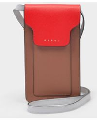 Marni Phone Case In Red Leather