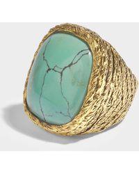 Aurelie Bidermann Miki türkisem Ring in türkisem und aus 18K vergoldetem Messing - Blau