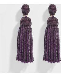 Oscar de la Renta - Short Beaded Silk Tassel Clip Earrings - Lyst