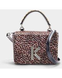 KENZO - Klasp Two Tone Crossbody Bag In Printed Leopard Pink Leather - Lyst