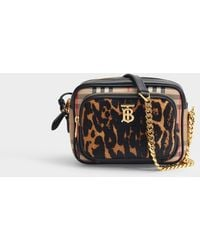 Burberry Vintage Check And Leopard Print Calf Hair Camera Bag - Multicolour