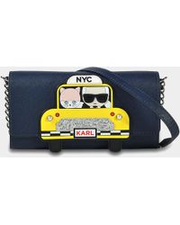 Karl Lagerfeld - Nyc Wallet On Chain In Night Blue Technical Saffiano - Lyst