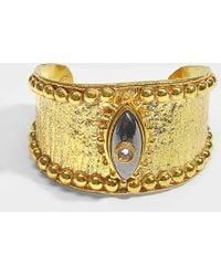 Sylvia Toledano The Third Eye Cuff In Hematite And Crystal 18k Gold Plated Brass - Metallic
