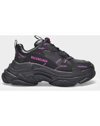 Balenciaga Triple S All Over Logo Trainers Black/pink