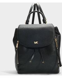 MICHAEL Michael Kors - Evie Medium Backpack In Black Calfskin - Lyst