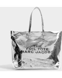 Marc Jacobs The Foil Tote In Silver Mixed Materials - Metallic