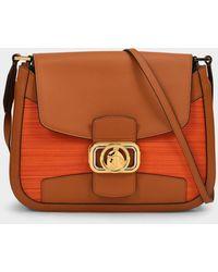 Lanvin Swan Baguette Shoulder Bag In Brown Leather