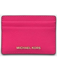 MICHAEL Michael Kors - Jet Set Travel Card Holder In Ultra Pink Saffiano Leather - Lyst