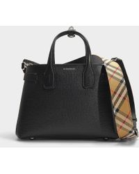 Burberry - The Banner Small Tote In Black Calfskin - Lyst