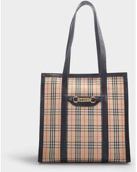 Burberry - Cabas The Link Zip Medium en Coton Vintage Check et Cuir Noir - Lyst