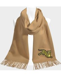 KENZO - 50x210 Jumping Tiger Stole In Jumping Tiger Beige Wool - Lyst