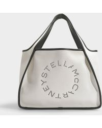 Stella McCartney Stella Logo Tote In Ivory Eco Leather - Natural