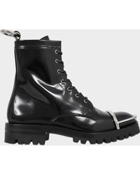 Alexander Wang - Lyndon Combat Ankle Boots In Black Smooth Calfskin - Lyst