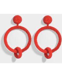 Oscar de la Renta - Beaded Double Hoop Clip Earrings In Carmine Synthetic - Lyst