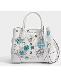 MICHAEL Michael Kors - Mercer Gallery Small Center Zip Satchel Bag In Optic White Mercer Pebble Leather - Lyst