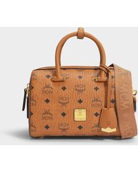 MCM Essential Visetos Original Boston 23 Bag In Cognac Coated Canvas - Brown