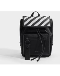 Off-White c/o Virgil Abloh Diag Binder Backpack In Black And White Calfskin