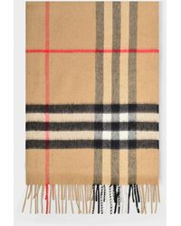 Burberry Giant Check Cs Scarf In Archive Beige Cashmere - Yellow