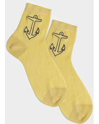 Maria La Rosa - Sea Anchor Socks Pale Blue Silk And Synthetic Fabric - Lyst